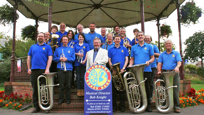 The Band assembled at Newbury Bandstand