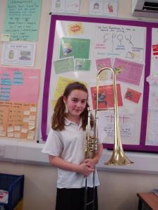 Alice Dawson plays the valve trombone